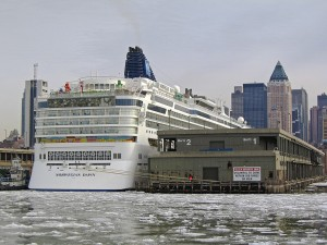 Norwegian Dawn docked at Manhattan Cruise Terminal
