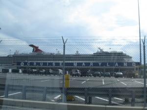 Cruise ship docked at port of Baltimore cruise terminal