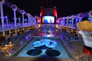 Disney Dream Cruise Ship - Pool Deck At Night